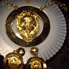 Massive gold tone lion demi necklace & earrings:)