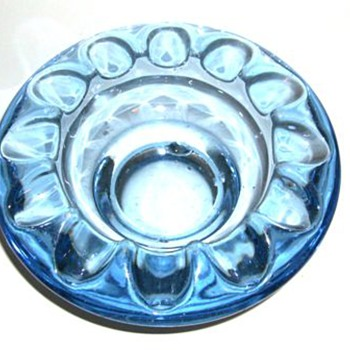 1962 CZECH Art Glass Ashtrays -- TWO