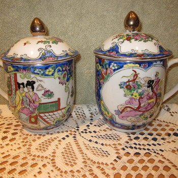 Anique Hand Painted Japanese/ Chinese Coffee Mugs