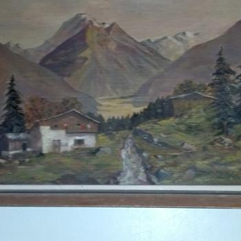 Oil Painting Europe alps - Visual Art