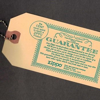 1983 - Zippo Lighter Guarantee Advertising Card