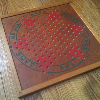 "1930's ""Chinker-Chek"" Wooden Chinese Checkers Board"