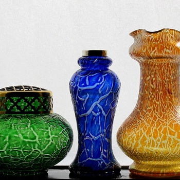 Kralik's Crackle beside Loetz's Mimosa - Art Glass