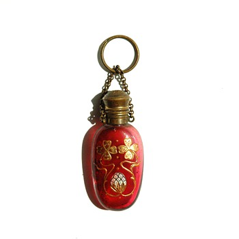 art nouveau  Antique Finger Ring Chatelaine Perfume Bottle  - Art Nouveau
