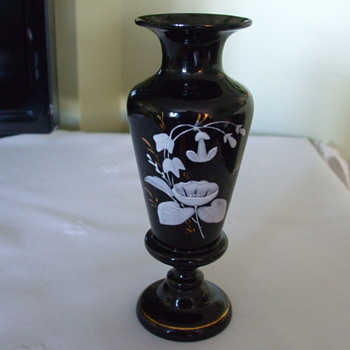 "Beautiful Enamelled Flowers on Possibly ""HARRACH"" Black Amethyst Vase"