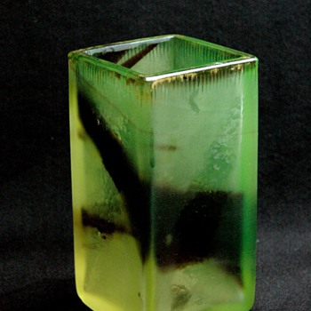 art nouveau Squared cristal glass vase by Desiré Christian for Burgun, Schverer & Co. in Meisenthal