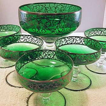 Emerald Green Dessert Set, Czech?? - Glassware