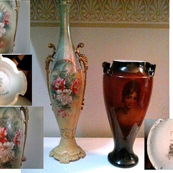 ES Royal Saxe Hand Painted Floral And Warwick China Portrait Vases / Circa 19th-20th Century