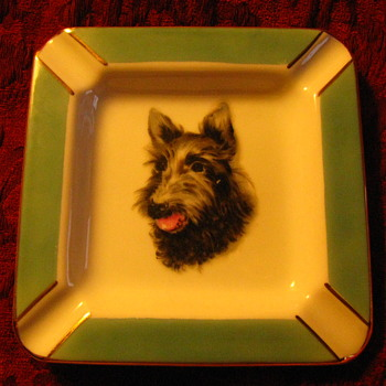 Vintage Tobacciana Sottish Terrier Scottie Dog Ash Tray Japan Cherry China - Animals