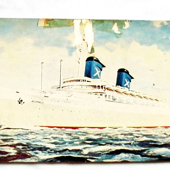 1973-ss australis-poscard/ticket/docking -nz-uk-return home. - Postcards