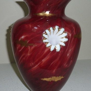 Really weird carneol marmorietes glass vase.  - Art Glass