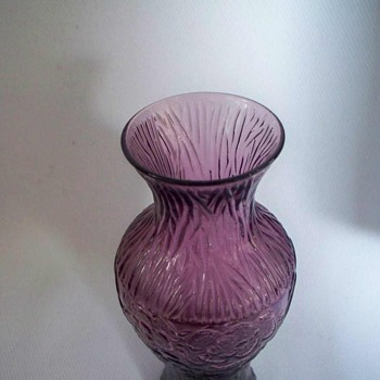 "AMETHYST PURPLE ART GLASS VASE TEXTURED WITH EMBOSSED FLOWERS 5-3/4"" TALL   - Art Glass"