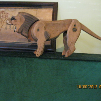 Old German Wood Toy Lion - stamped Zoo - Animals
