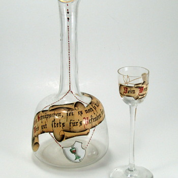 Bohemian enameled decanter and cordial - Art Glass