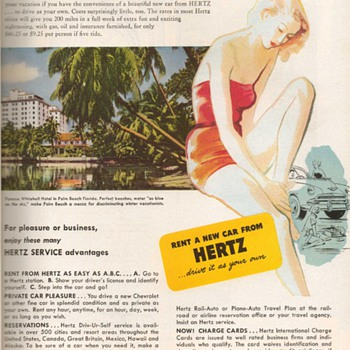 1952 - Hertz Car Rental Advertisement - Advertising
