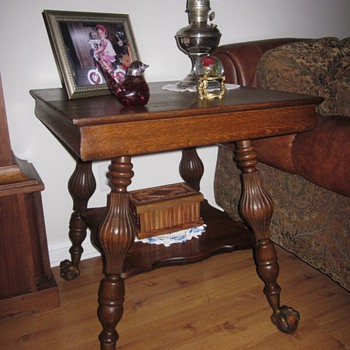 Large Ball and Claw Quarter Sawn Oak End Table