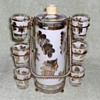 ALDON Gold-Leaf Decanter and Shotglasses Set