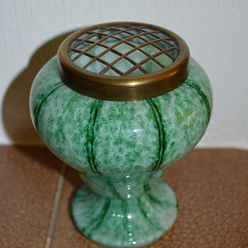 Welz Vertical Stripes green posy vase