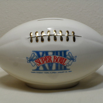 Superbowl XVIII Ceramic Football Coin Bank