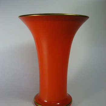 orange  loetz (?) vase w/ acid cut rim - Art Glass