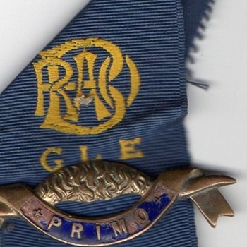 G L E, Primo R O A B masonic / Buffalo enamel badge with blue ribbon, I believe its masonic