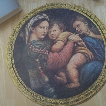 Jaymar Great Religious Art Picture Puzzle In The Round - Madonna Delia Sedia