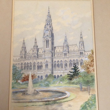 A Watercolor Painting of the Vienna Town hall in 1949... Unknowm Austrian Artist - Visual Art