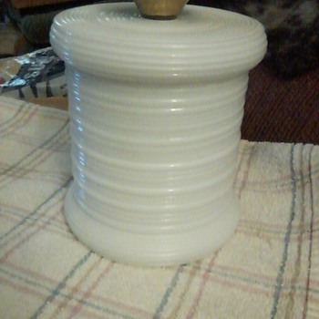 Unusual Imperial Milk Glass ribbed jar