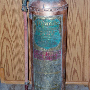 Antique Copper Brass LaFrance &amp; Fomite Corporation Fire Extinguisher - Firefighting
