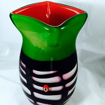 MCM Murano? Cased Red Green Black Pink Vase 8 lbs  - Art Glass