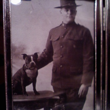 WWI era Soldiers & Sailor with Pit Bull mascots....