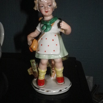 German made Porcelain china Ceramic little girl figurine not Hummel or Goebel but other