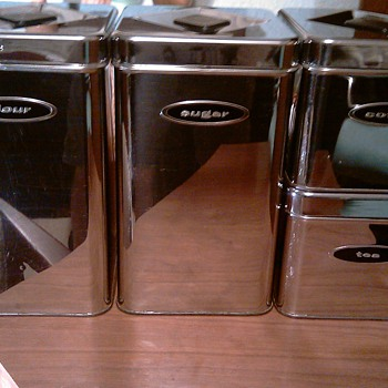 Mid Century Cannette Chrome Kitchen Canisters - Mid-Century Modern