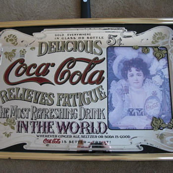 5 cents coca cola mirror brass frame - Coca-Cola