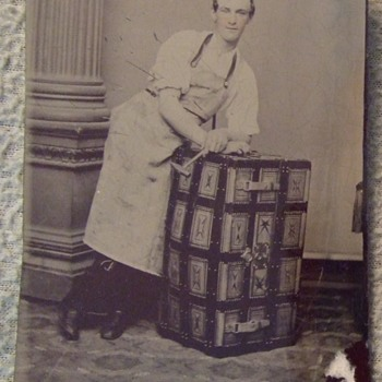 Occupational trunk maker tintype c. 1870s