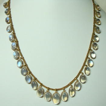 Gold and Blue Moonstones Necklace