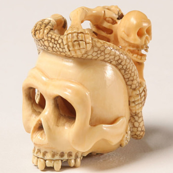 Interesting Japanese Skull Netsuke & More