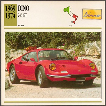 Vintage Car Card - Dino 246 GT - Classic Cars