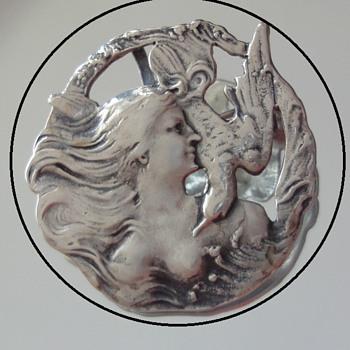 Art Nouveau Sterling Silver Brooch  Pendant Lady with Bird  - Art Nouveau