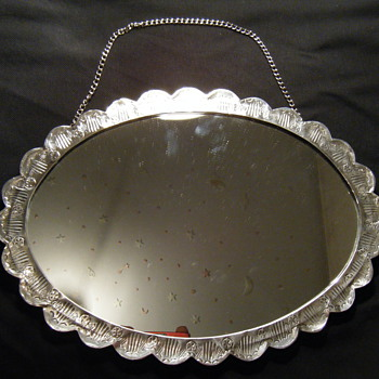 Turkish repousse Sterling Silver + vermeil wall mirror.