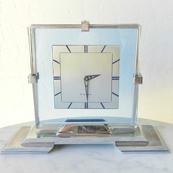 ??? 1930's Art Deco Table Clock - Blue Glass Swiss Movement