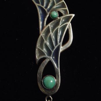 Jugendstil pique & turquoise pendant - Art Nouveau