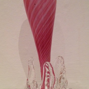 Welz candy stripe footed vase - Art Glass