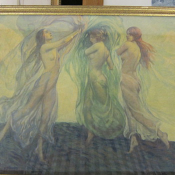 LOUIS F. BERNEKER  -  THREE DANCERS  -  1920'S COLOR ART PRINT