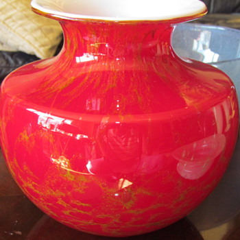 Red Cased Art Glass Vase - Art Glass