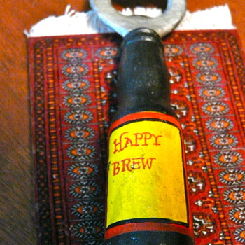 Cast Iron Happy Brew Beer Bottle Opener - Breweriana