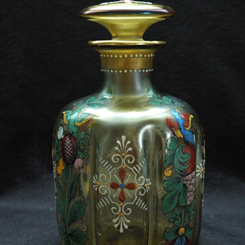 unsigned FRITZ HECKERT  enamel  decanter. - Art Nouveau