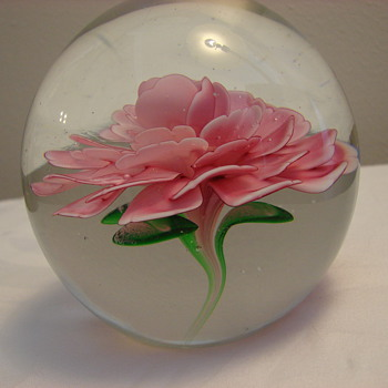 Crimp Rose Paperweight by Unknown Maker - Art Glass
