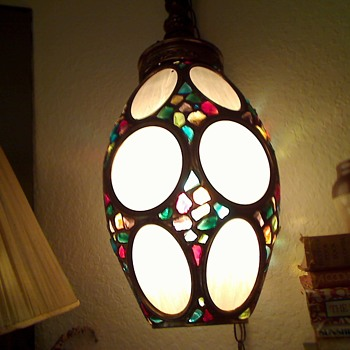 LARGE VINTAGE SWAG OVAL SHAPED WITH COLORED GLASS STONES AND MILKY WHITE ROUND AND OVAL PANELS