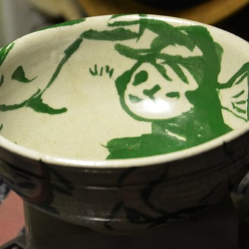 Another one of the amazing bowls w/ the squiggly signature. - Art Pottery